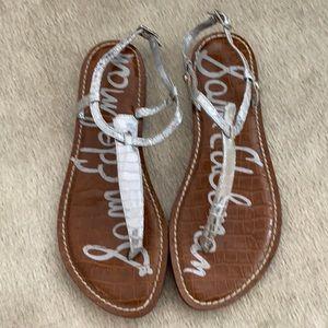 Silver Croc T Strap Ankle Strap Flat Sandals
